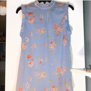 Who What Wear Blue Sheer Floral Ruffle Top - M